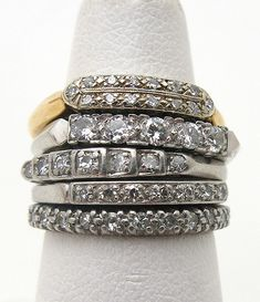 Forget a solitaire, these vintage stacking rings are divine