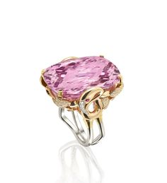 Flamingo Ring. Beautiful kunzite and diamonds - An extraordinary, Flamingo design cocktail ring featuring a 53.98ct cushion cut kunzite and further round-brilliant cut diamonds in 18ct rose gold and platinum.