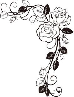 26 Trendy tattoo rose drawing coloring pages Colouring Pages, Adult Coloring Pages, Coloring Books, Rose Vine Tattoos, Vine Drawing, Rose Drawing Tattoo, Stencils, Inkscape Tutorials, Rose Vines