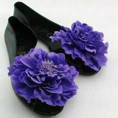 Jelly Black Purple Rosette Open Toe Flat Cocktail Evening Shoes Sandals SKU-1091007