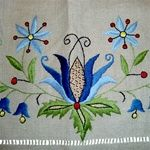 Women's hand embroidered Kashubian Floral Apron, in taupe color linen.  Made in Gdansk, we have only one available.