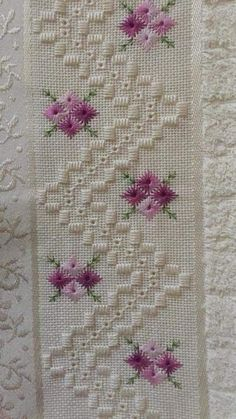 Beautiful floral/autumn cross stitch embroidered tablecloth in white linen from Sweden Hardanger Embroidery, Silk Ribbon Embroidery, Embroidery Stitches, Embroidery Patterns, Hand Embroidery, Cross Stitch Patterns, Doily Patterns, Dress Patterns, Love Knitting
