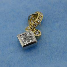 Solid 18KT Yellow Gold & Platinum Genuine Diamond Pendant – MoneyMan Pawn