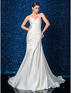 Sheath/Column Halter Court Train Satin Wedding Dress (612945). Grab unbeatable discounts up to 70% Off at Light in the box using Coupons.