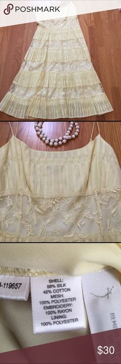 Beautiful Ann Taylor Sundress. Easy to dress up or down is this pretty pleated and lace Bodice sundress. Worn once it is in like new condition. Color is a soft yellow. Measures 35 inches from end of straps to hem. Anne Taylor Dresses