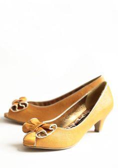 Jenny Indie Bow Heels In Marigold | Modern Vintage New Arrivals