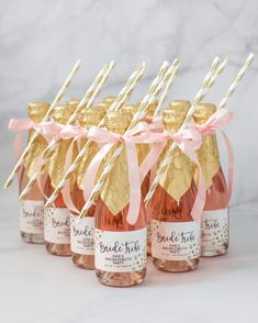 Personalized Bride Tribe bachelorette party mini champagne labels in blush pink and gold, with gold glitter confetti dots and modern black brush script lettering. Perfect for a bachelorette party, bridal shower, engagement party, or wedding favor. Pink Bachelorette Party, Bachelorette Party Invitations, Bridal Shower Invitations, Bridal Shower Favors, Bridal Shower Pink, Bachelorette Party Decorations, Pink Party Favors, Bachelorette Weekend, Wine Bridal Showers