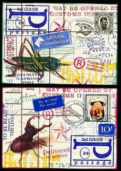 two postcards for a swap, more to come the next days. Mixed Media Collage, Collage Art, Altered Books, Altered Art, Diy Postcard, Postcard Paper, Fun Mail, Decorated Envelopes, Postage Stamp Art