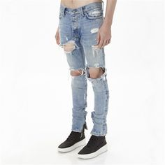 New mens cotton fashion hip hop justin bieber jeans with holes distressed Ankle zipper denim pants Size 29-36 z93