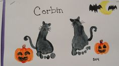 Halloween black cats – Candra Faulkner - Fall Crafts For Toddlers Chat Halloween, Theme Halloween, Baby First Halloween, Daycare Crafts, Baby Crafts, Toddler Art, Toddler Crafts, October Crafts, Halloween Crafts For Toddlers