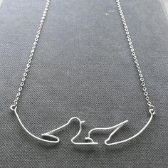 Birds on Wire Necklace Bird Necklace Silver por FioreJewellery