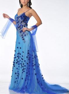 Zeilei K21103 Blue Embellished Pageant Prom Party Dress