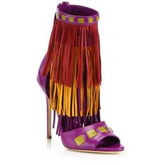 Brian Atwood Abby Fringed Leather Sandals ($680) ❤ liked on Polyvore featuring shoes, sandals, apparel & accessories, imperial purple, brian atwood shoes, leather sandals, peep toe shoes, multi color sandals and purple sandals
