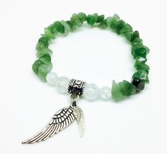 Aventurine is a lovely slightly transparent greenish blue crystal that supports the energetic body after illness and trauma, and encourages tissue repair and healing. Aventurine helps to promote positivity, optimism, and zest for life.   https://www.etsy.com/listing/290433023/aventurine-bracelet-angel-wing-bracelet  Aventurine Bracelet, Angel Wing Bracelet, Angel Bracelet, Crystal Bracelet, Aventurine Jewelry, Angel Jewelry