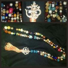 Meditation/prayer beads. 108 count Ohm symbol, tassel, Tibetan wooden beads Jade elephant, and Vintage beads $85