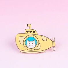 Cub Sub Hard Enamel Pin [product-vendor]- Pilea Place House Plant Store Melbourne Sydney Australia Canberra Brisbane Victoria New South Wales Love Machine, Yellow Submarine, Pop Bands, Hard Enamel Pin, Cat Lady, Dungeons And Dragons, Cubs, Painted Rocks, Brisbane