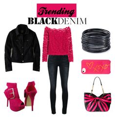 """Black Denim Contest"" by tlb0318 on Polyvore featuring Frame Denim, H&M, American Eagle Outfitters, Betsey Johnson, BaubleBar, ABS by Allen Schwartz, women's clothing, women's fashion, women and female"