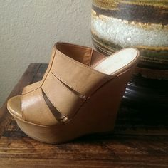 Tan wedges,  New never worn!..make an offer$$ Very comfy platform wedge, so easy to walk in!! DbDk fashion Shoes Wedges