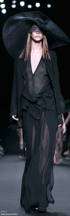 Sheer black and hat #catwalk