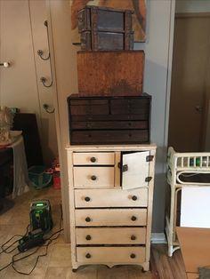 Vintage child's dresser, vintage file cabinet and vintage machinist toebox. Machinist Tool Box, Dresser As Nightstand, Vintage Children, Filing Cabinet, Furniture, Home Decor, Vintage Kids, Decoration Home, Binder