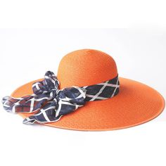 LUCLUC Orange Straw Sun Hat with Bow ($29) ❤ liked on Polyvore featuring accessories, hats, orange hat, bow hat, beach hat, straw sun hat and straw hat