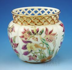 Small Zsolnay~Porcelain~natural color cachepot~Hand painted floral design on a white background~Reticulated top~Made in Hungary