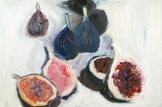 "Reminiscent of the beautiful art of the impressionist movement, this piece aptly titled ""Figs"" by Giulia Bianchi balances the interest of both the subject matter and the medium used to depict it. The eye easily wonders over both the fruity forms and paint strokes."