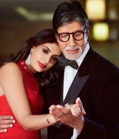 Father in law, Amitabh Bachchan & Sister in law, Shweta Bachchan Nanda Bollywood Stars, Bollywood Fashion, Vogue Wedding, Vintage Bollywood, Amitabh Bachchan, Sister In Law, Wedding Show, Aishwarya Rai, Celebs