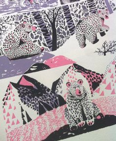 Hand pulled 3 colour screen print  Approx size 60x35cm  Prints sold unframed  Limited edition of 8  Original illustration by Dionne Kitching