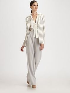 St. John - Crepe Wide-Leg Pants - Saks.com. There are times I love St. John clothes, but other times I feel like they are for women even older than I am! Dressing 'my age'...not too young, not too old...it's a challenge!