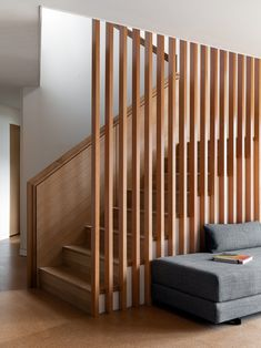The custom Fir screen wall provides a visual connection between levels Tagged: Staircase, Wood Railing, and Wood Tread. The Wriff Residence by Guggenheim Architecture + Design Studio. Browse inspirational photos of modern staircases. Timber Slats, Timber Staircase, Wood Cladding, Staircase Railings, Wooden Staircases, Wood Stairs, Oak Handrail, Stair Spindles, Wood Railing