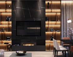 Magnificent kitchen-living room on Behance Hotel Room Design, Interior Design Living Room, Living Room Tv Unit Designs, Tv Wall Design, Luxury Rooms, Fireplace Design, House Rooms, Living Rooms, Kitchen Living