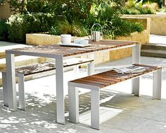 Compliment your patio space with this charming outdoor dining table from Design Within Reach. The Deneb patio table is a contemporary outdoor table that Outdoor Dining Furniture, Patio Dining, Patio Table, Outdoor Tables, A Table, Outdoor Living, Garden Furniture, Dining Area, Picnic Tables