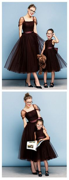 Chocolate Plus Sizes / Petite Ball Gown Square Tea-length Tulle. Love this mom & daughter's look? Get it in our Christmas sales deal right now! Lightning Deals will got your amazed! Exciting Deals of the Day, and savings on your wallet.
