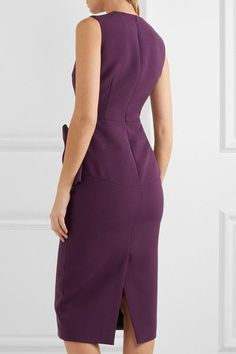 Roksanda - Laurana Bow-embellished Stretch-cady Dress - Dark purple - UK