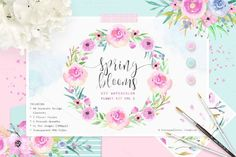 Graphic Design - Graphic Design Ideas  - Spring Blooms - Watercolor Flowers by Carousellerie Creative on Creative Market   Graphic Design Ideas :     – Picture :     – Description  Spring Blooms – Watercolor Flowers by Carousellerie Creative on Creative Market  -Read More –