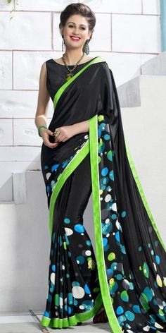 Stupendous Black And Multi-Color Silk Printed Saree.