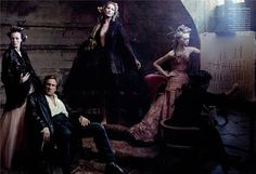 French Twists : Vogue 2004  Black Narcissus  In the 1700s, as today, it reflected well on a patron's vanity to commission work by the choicest painters of the hour. Here, new model Gemma Ward watches as the French artist Fabrice Hybert ponders an abstraction. All clothing by Gaultier Paris.