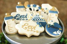 New Baby Shower Desserts Boy Treats Sugar Cookies Ideas Baby Shower Tags, Boho Baby Shower, Baby Shower Invitations For Boys, Baby Boy Shower, Baby Boy Cookies, Cute Cookies, Sugar Cookies, Baby Shower Desserts, Baby Shower Cupcakes
