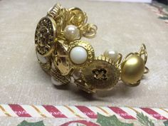 Wire Wrapped Button Bracelet by BornAgainButtons on Etsy, $10.00
