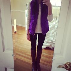 Purple Vest, Cable-Knit Sweater, and Riding Boots