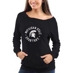 Michigan State Spartans Women's Roundhouse Too Junior Vintage Boatneck Sweatshirt - Black