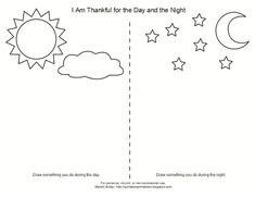 Lesson I Am Thankful for the Day and NightSunbeam Printables - glue clouds on sky. Foil star stickers on night. Bring book about nephites and Christ's birth, Bring star projector. Play games with sunbeam beanbags. Weather Worksheets, Kindergarten Worksheets, Kids Worksheets, Sunbeam Lessons, Primary Lessons, Lds Primary, Art Drawings For Kids, Science, Day For Night
