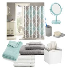 """""""bathroom seafoam green white gray"""" by bbn0306 ❤ liked on Polyvore featuring interior, interiors, interior design, home, home decor, interior decorating, Linum Home Textiles, Crate and Barrel, Sonoma life + style and Madison Park"""