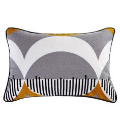 Crafted with a cotton cover, this rectangular cushion from Elements is patterned with a contemporary grey and white design with vibrant ochre highlights, finished with a sophisticated piped edge and embroidered detailing. Applique Cushions, Embroidered Cushions, Painted Rug, Rug Texture, Grey Cushions, Crewel Embroidery, Beautiful Textures, Colour Schemes, Bedroom Colors