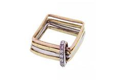Firenze square ring - 18kt yellow, white and rose gold with pink diamond