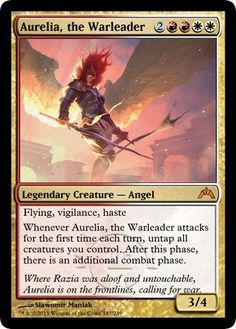 Zero to Sixty: Commanding Aurelia : Daily MTG : Magic: The Gathering Magic The Gathering Karten, Angel Flying, Legendary Creature, Magic Cards, Wizards Of The Coast, Summoning, Deck Of Cards, Maze, First Time