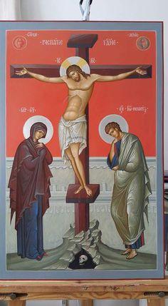 Artwork of the Crucifixion of Jesus Christ Religious Images, Religious Icons, Religious Art, Byzantine Icons, Byzantine Art, Greek Icons, Religion, Crucifixion Of Jesus, Christian Artwork