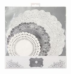 Silver Wedding 25th Anniversary Tea Party 24 x Silver /& White Paper Doilies