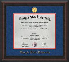 GSU Diploma Frame - Mahog Braid - w/GSU Medallion - Blue Suede/Red mat – Professional Framing Company